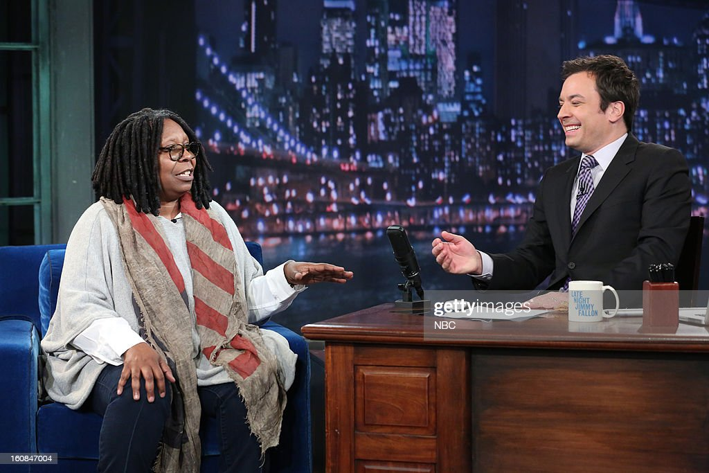Talk show host/actress/comedian Whoopi Goldberg with host Jimmy Fallon during an interview on February 6, 2013 --