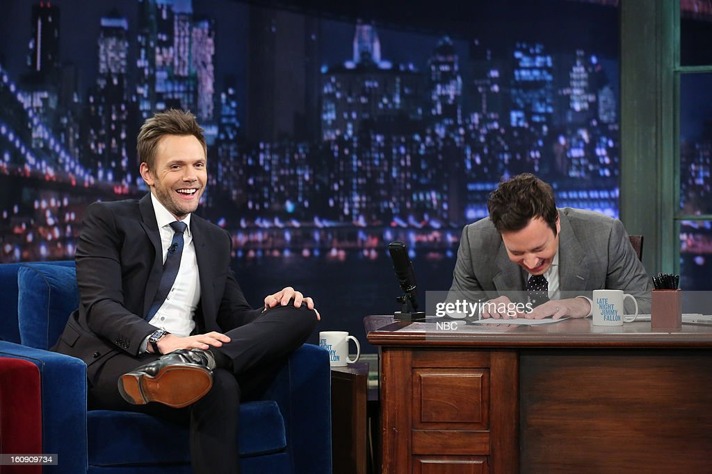 Actor Joel McHale with host Jimmy Fallon during an interview on February 7, 2013 --