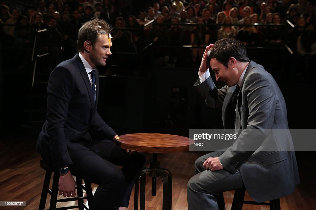 Joel McHale with host Jimmy Fallon during a skit on February 7, 2013 --