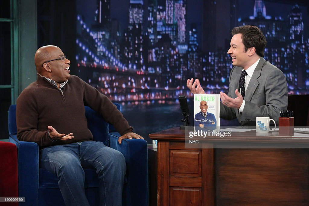 NBC News' Al Roker with host <a gi-track='captionPersonalityLinkClicked' href=/galleries/search?phrase=Jimmy+Fallon&family=editorial&specificpeople=171520 ng-click='$event.stopPropagation()'>Jimmy Fallon</a> during an interview on February 7, 2013 --