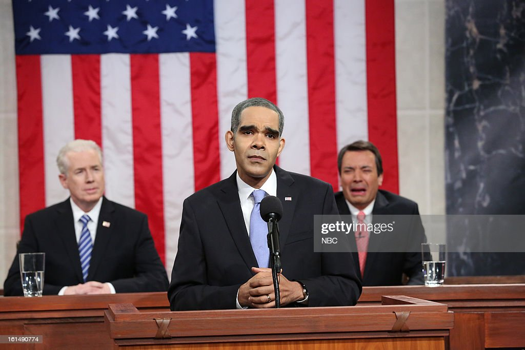 John Boehner (Jimmy Fallon) gets emotional during State of the Union (center) Dion Flynn as President Barack Obama --
