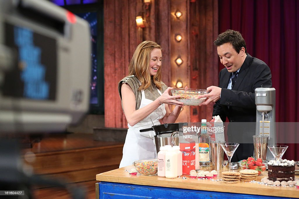 Christina Tosi with host <a gi-track='captionPersonalityLinkClicked' href=/galleries/search?phrase=Jimmy+Fallon&family=editorial&specificpeople=171520 ng-click='$event.stopPropagation()'>Jimmy Fallon</a> during an interview on February 12, 2013 --