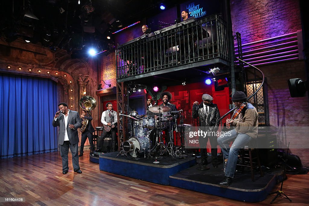 Craig Robinson performs with The Roots on February 12, 2013 --