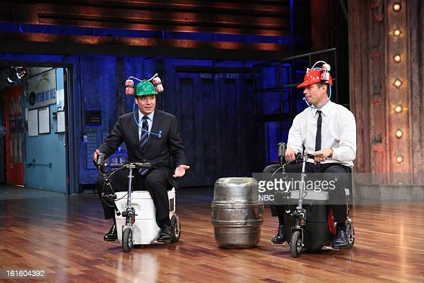 Host Jimmy Fallon with Josh Duhamel during a skit on February 12 2013