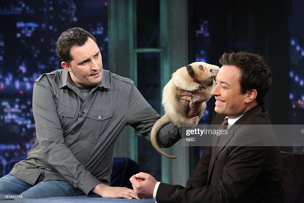 Jeff Musial with host <a gi-track='captionPersonalityLinkClicked' href=/galleries/search?phrase=Jimmy+Fallon&family=editorial&specificpeople=171520 ng-click='$event.stopPropagation()'>Jimmy Fallon</a> during an interview on February 13, 2013 --