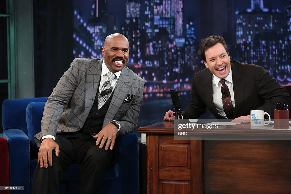 <a gi-track='captionPersonalityLinkClicked' href=/galleries/search?phrase=Steve+Harvey&family=editorial&specificpeople=210865 ng-click='$event.stopPropagation()'>Steve Harvey</a> with host <a gi-track='captionPersonalityLinkClicked' href=/galleries/search?phrase=Jimmy+Fallon&family=editorial&specificpeople=171520 ng-click='$event.stopPropagation()'>Jimmy Fallon</a> during an interview on February 13, 2013 --