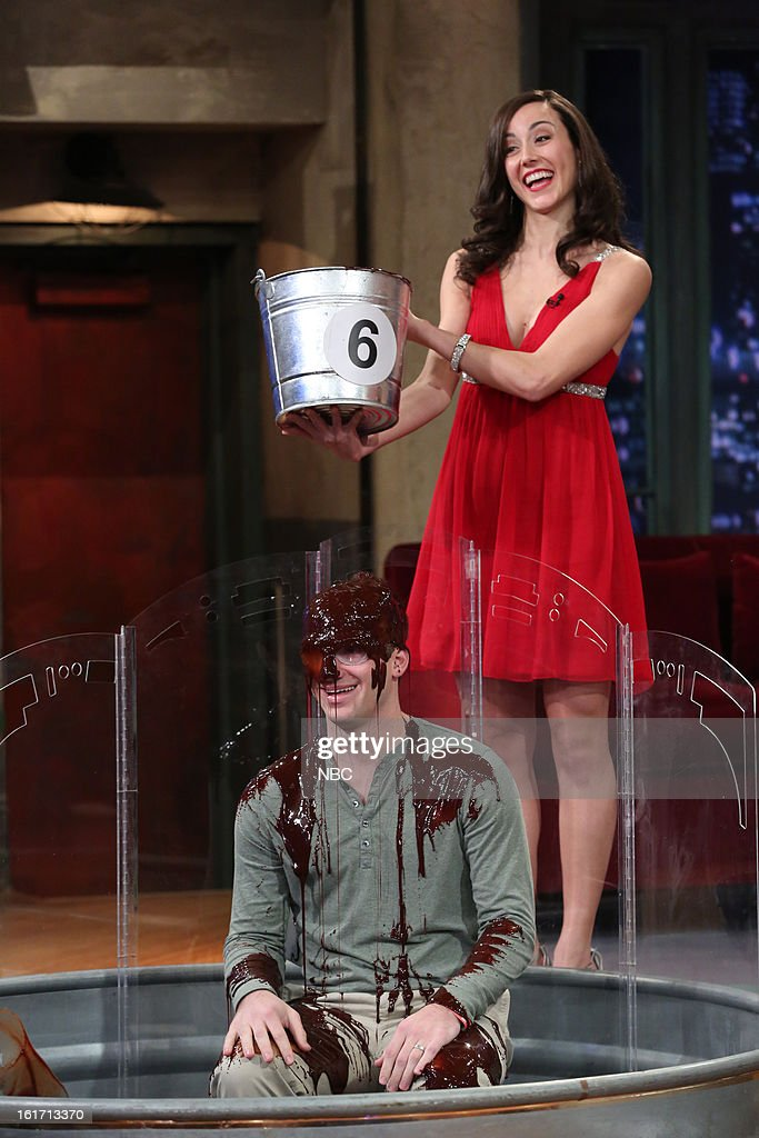 Model and contestant during a skit on February 14, 2013 --