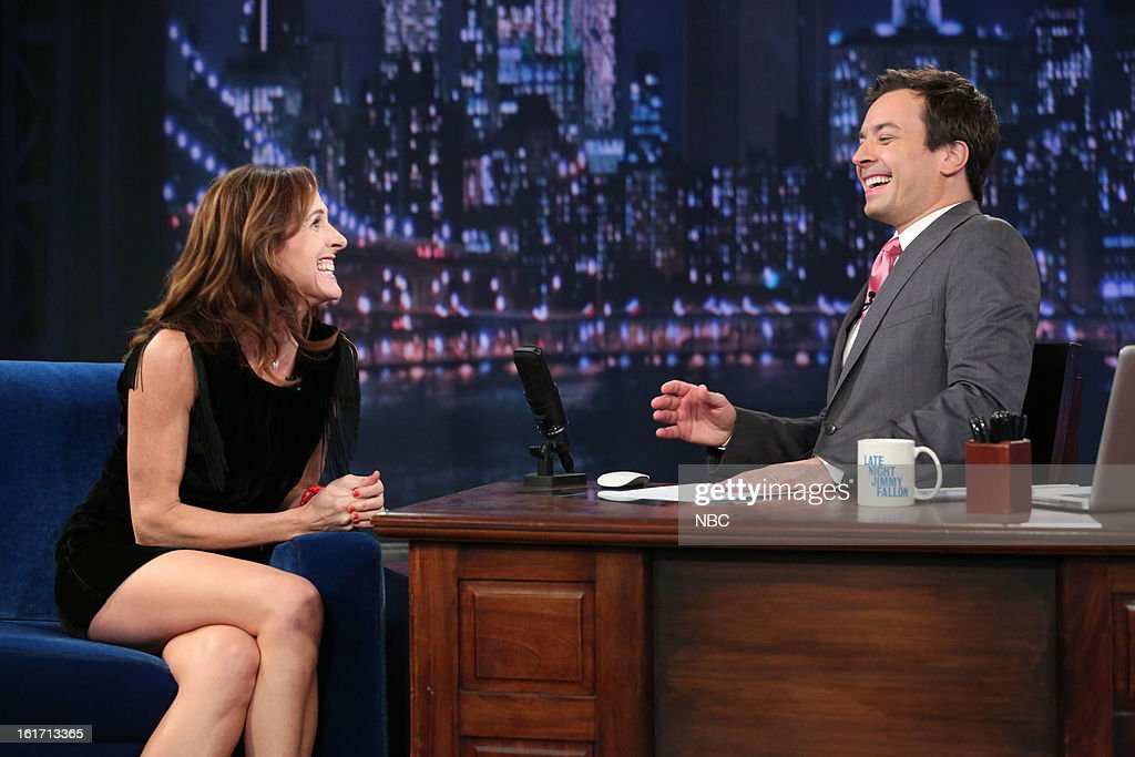 Molly Shannon with host Jimmy Fallon during an interview on February 14, 2013 --