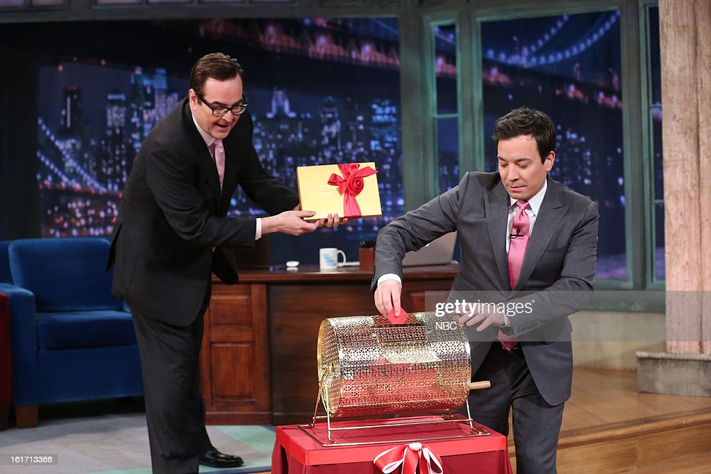 Steve Higgins with host <a gi-track='captionPersonalityLinkClicked' href=/galleries/search?phrase=Jimmy+Fallon&family=editorial&specificpeople=171520 ng-click='$event.stopPropagation()'>Jimmy Fallon</a> during a skit on February 14, 2013 --