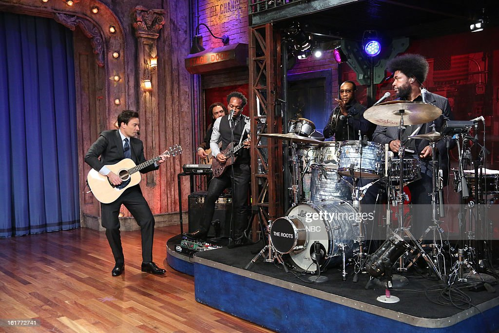 Host Jimmy Fallon with The Roots during a skit on February 15, 2013 --