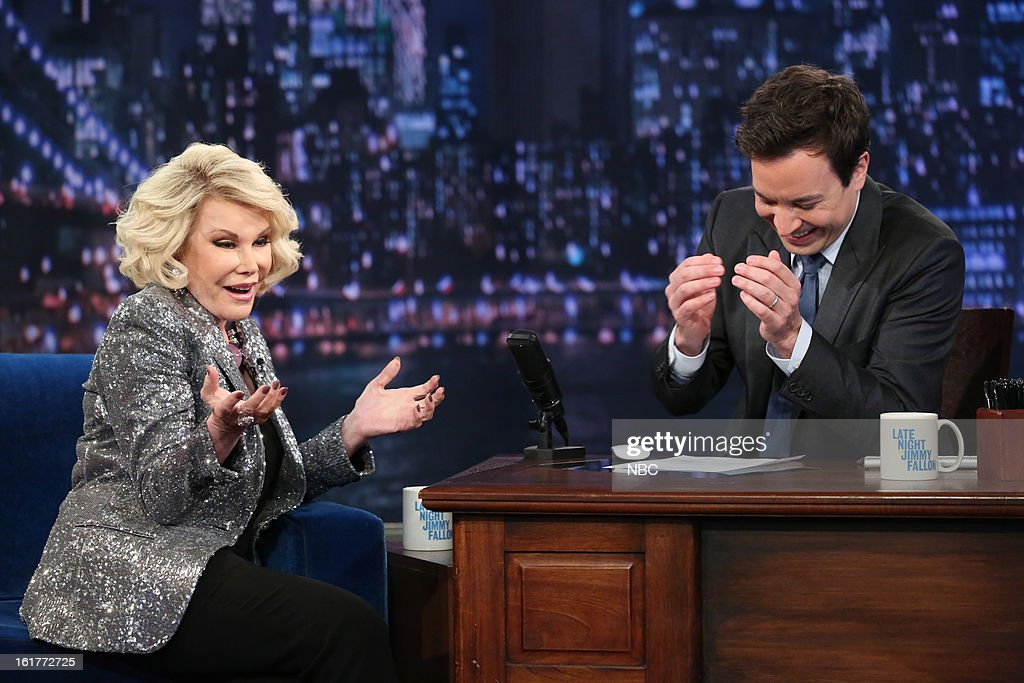 Joan Rivers with host Jimmy Fallon during an interview on February 15, 2013 --