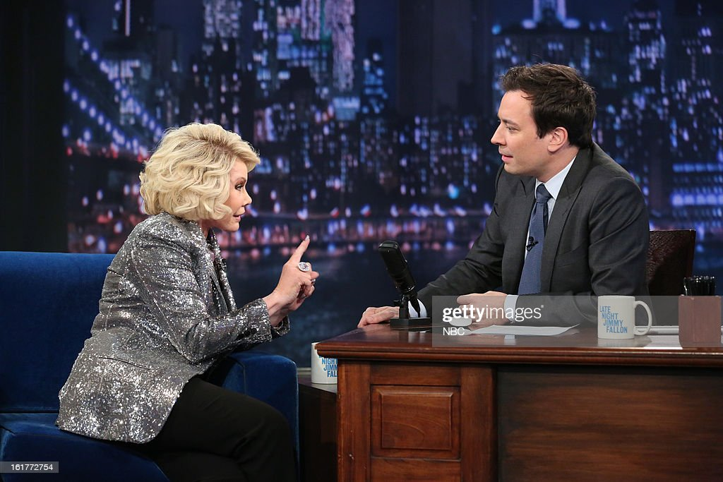 <a gi-track='captionPersonalityLinkClicked' href=/galleries/search?phrase=Joan+Rivers&family=editorial&specificpeople=159403 ng-click='$event.stopPropagation()'>Joan Rivers</a> with host <a gi-track='captionPersonalityLinkClicked' href=/galleries/search?phrase=Jimmy+Fallon&family=editorial&specificpeople=171520 ng-click='$event.stopPropagation()'>Jimmy Fallon</a> during an interview on February 15, 2013 --