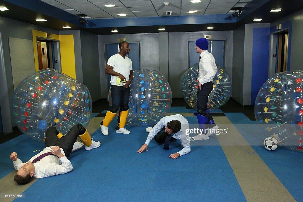Josh Charles, Anquan Boldin, host Jimmy Fallon, Justin Tucker during a skit on February 15, 2013 --