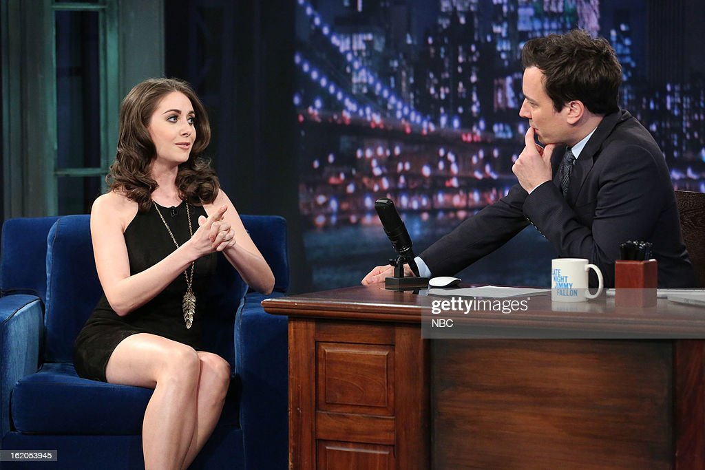 <a gi-track='captionPersonalityLinkClicked' href=/galleries/search?phrase=Alison+Brie&family=editorial&specificpeople=5447578 ng-click='$event.stopPropagation()'>Alison Brie</a> with host <a gi-track='captionPersonalityLinkClicked' href=/galleries/search?phrase=Jimmy+Fallon&family=editorial&specificpeople=171520 ng-click='$event.stopPropagation()'>Jimmy Fallon</a> during an interview on February 18, 2013 --