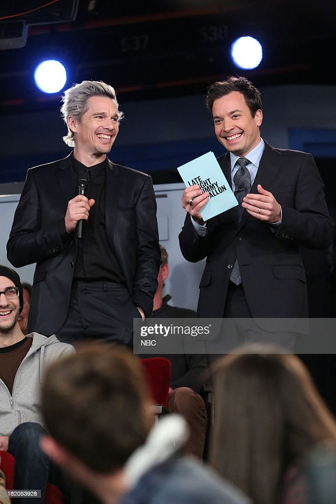 Ethan Hawke with host <a gi-track='captionPersonalityLinkClicked' href=/galleries/search?phrase=Jimmy+Fallon&family=editorial&specificpeople=171520 ng-click='$event.stopPropagation()'>Jimmy Fallon</a> during a skit on February 18, 2013 --