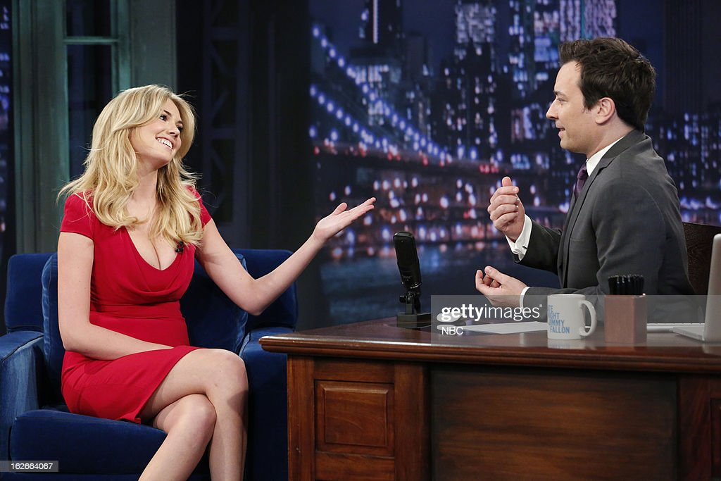 Kate?Upton with host <a gi-track='captionPersonalityLinkClicked' href=/galleries/search?phrase=Jimmy+Fallon&family=editorial&specificpeople=171520 ng-click='$event.stopPropagation()'>Jimmy Fallon</a> during an interview on February 25, 2013 --
