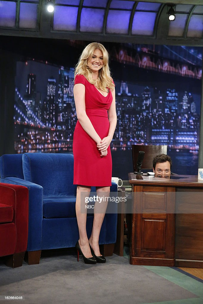 Kate?Upton with host <a gi-track='captionPersonalityLinkClicked' href=/galleries/search?phrase=Jimmy+Fallon&family=editorial&specificpeople=171520 ng-click='$event.stopPropagation()'>Jimmy Fallon</a> on February 25, 2013 --