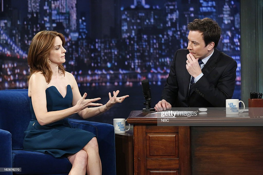 Actress Tina Fey with host Jimmy Fallon during an interview on February 28, 2013 --