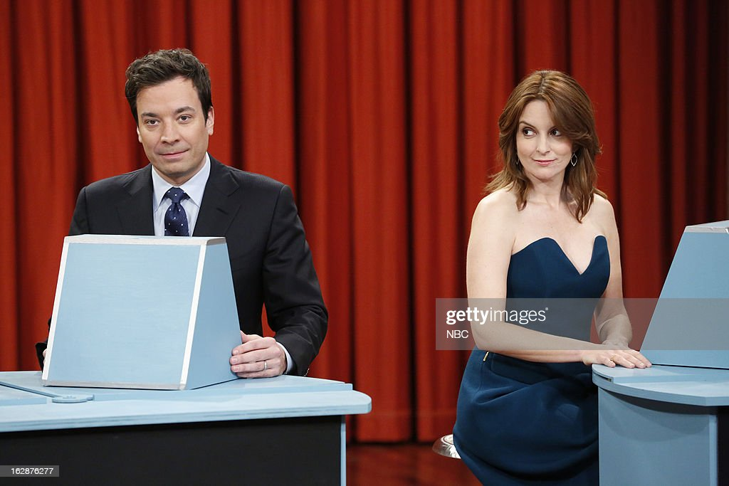 Host Jimmy Fallon with Tina Fey during a skit on February 28, 2013 --