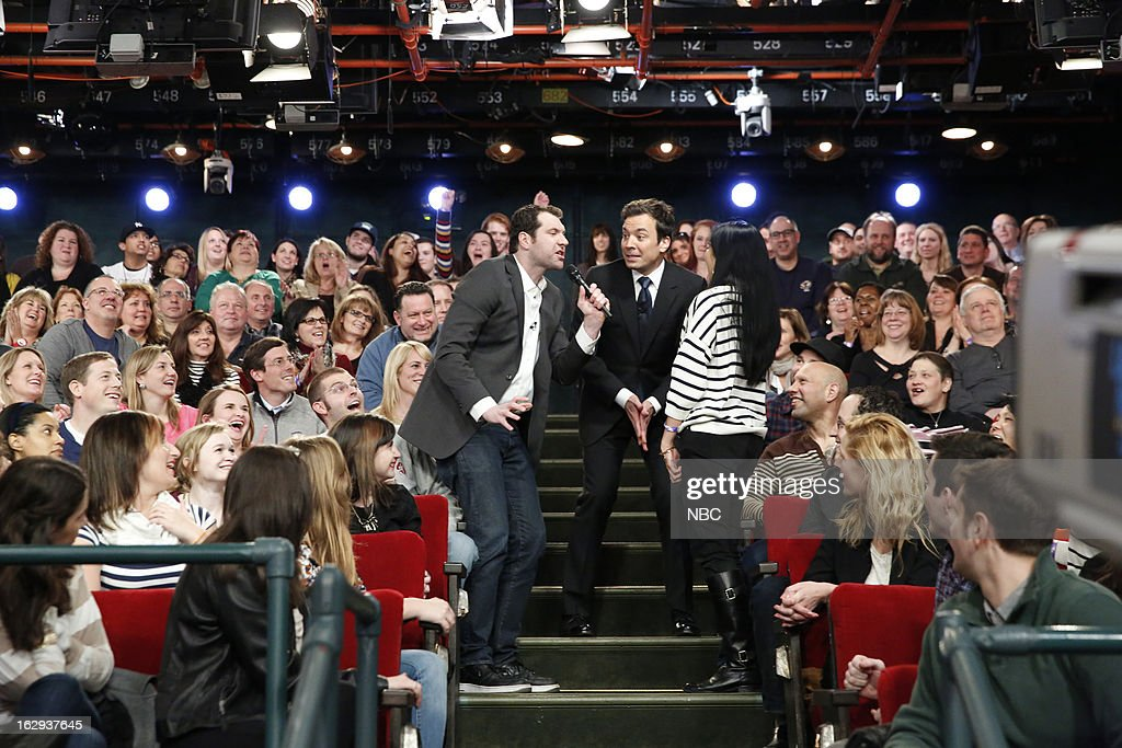 Billy Eichner with host Jimmy Fallon and audience member during a skit on March 1, 2013 --