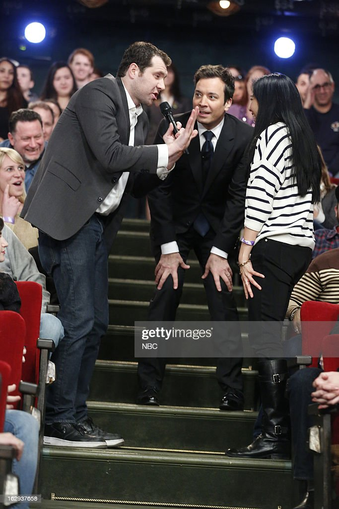 Billy Eichner with host <a gi-track='captionPersonalityLinkClicked' href=/galleries/search?phrase=Jimmy+Fallon&family=editorial&specificpeople=171520 ng-click='$event.stopPropagation()'>Jimmy Fallon</a> and audience member during a skit on March 1, 2013 --