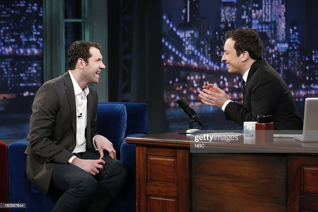 Billy Eichner with host Jimmy Fallon during an interview on March 1, 2013 --