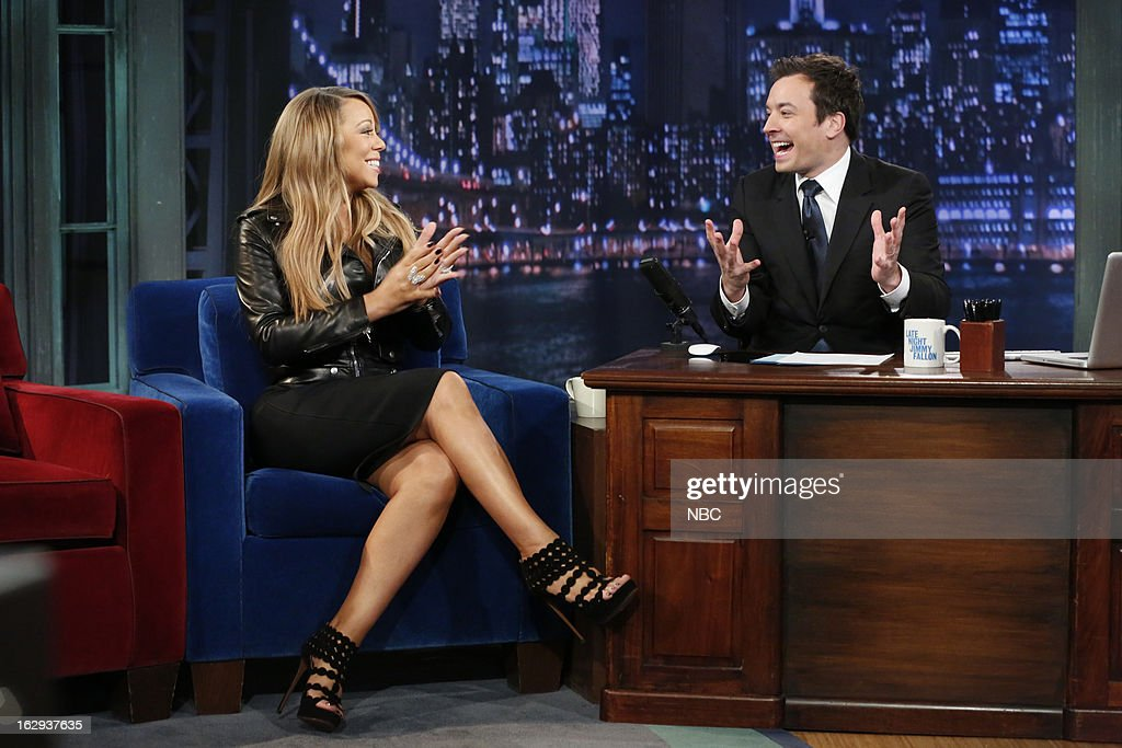 Mariah Carey with host Jimmy Fallon during an interview on March 1, 2013 --