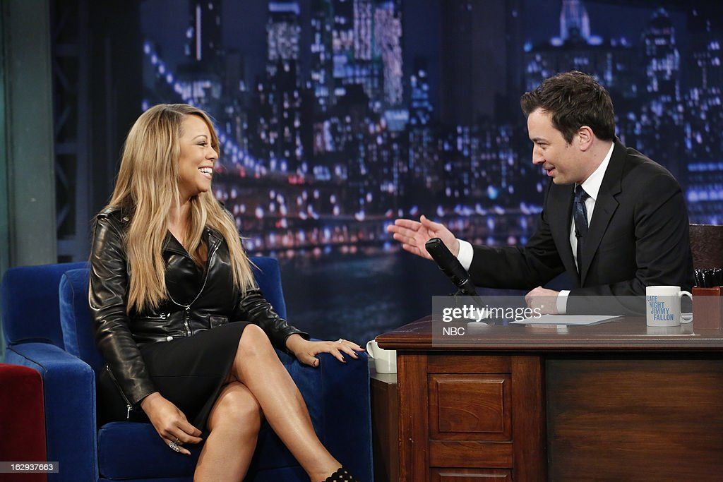 <a gi-track='captionPersonalityLinkClicked' href=/galleries/search?phrase=Mariah+Carey&family=editorial&specificpeople=171647 ng-click='$event.stopPropagation()'>Mariah Carey</a> with host <a gi-track='captionPersonalityLinkClicked' href=/galleries/search?phrase=Jimmy+Fallon&family=editorial&specificpeople=171520 ng-click='$event.stopPropagation()'>Jimmy Fallon</a> during an interview on March 1, 2013 --