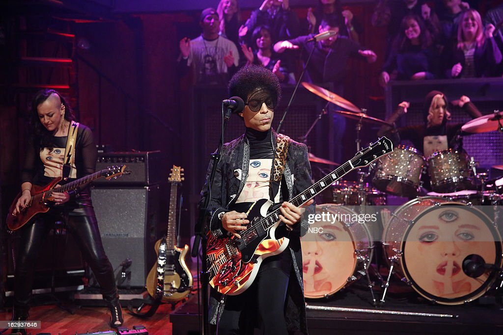Musical guest <a gi-track='captionPersonalityLinkClicked' href=/galleries/search?phrase=Prince&family=editorial&specificpeople=203048 ng-click='$event.stopPropagation()'>Prince</a> on March 1, 2013 --