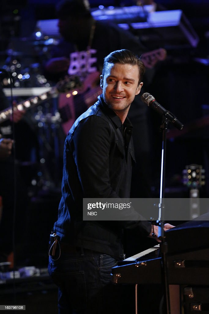 Musical guest <a gi-track='captionPersonalityLinkClicked' href=/galleries/search?phrase=Justin+Timberlake&family=editorial&specificpeople=157482 ng-click='$event.stopPropagation()'>Justin Timberlake</a> performs on March 15, 2013 --