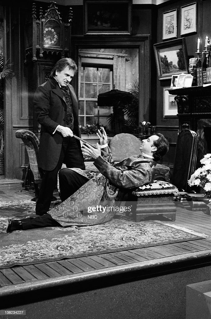 LIVE -- Episode 8 -- Air Date -- Pictured: (l-r) Dudley Moore as Sir Roger Tewksbury, Jon Lovitz as Master Thespian during 'Master Thespian' sketch on January 25, 1986