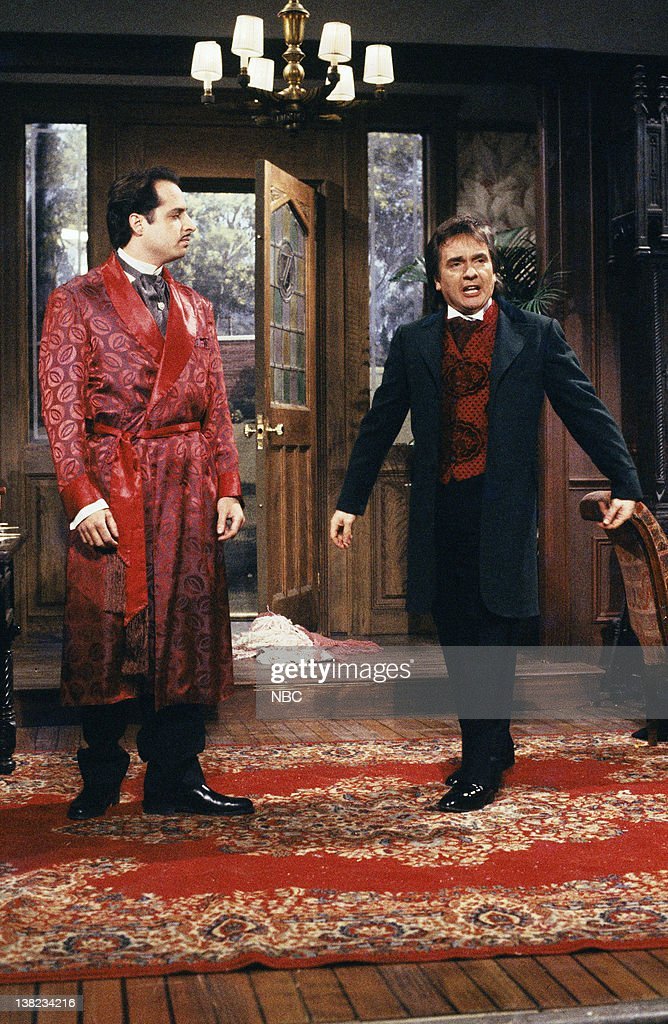 LIVE -- Episode 8 -- Air Date -- Pictured: (l-r) Jon Lovitz as Master Thespian, Dudley Moore as Sir Roger Tewsbury during 'Master Thespian' sketch on January 25, 1986