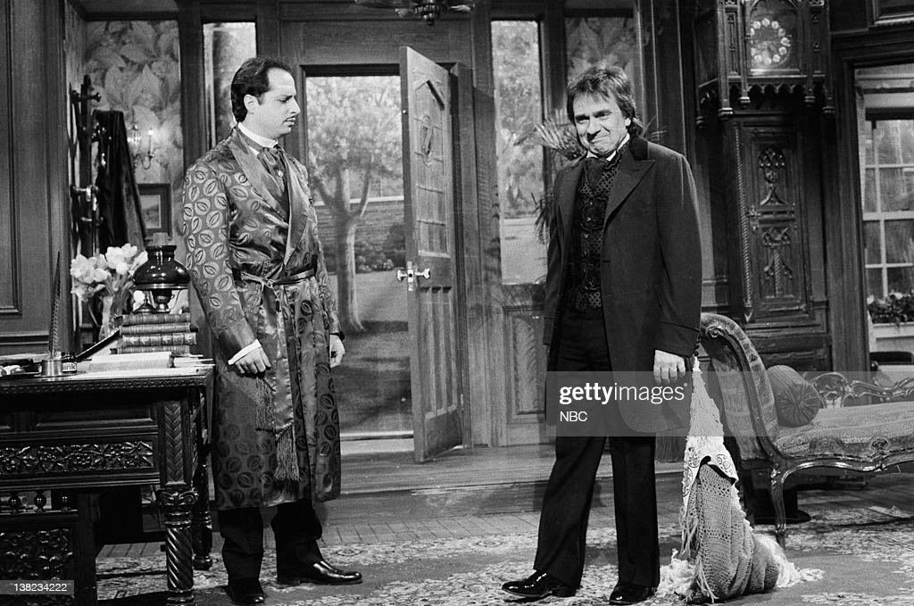 LIVE -- Episode 8 -- Air Date -- Pictured: (l-r) Jon Lovitz as Master Thespian, Dudley Moore as Sir Roger Tewksbury during 'Master Thespian' sketch on January 25, 1986