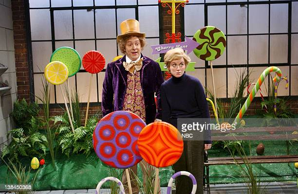 LIVE Episode 8 Aired Pictured Jeff Richards as Gene Wilder Amy Poehler as Charlie Bucket during 'Willy Wonka and the Chocolate Factory' skit on...
