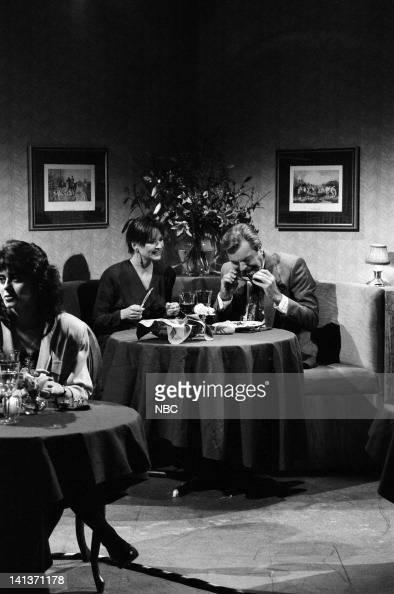 Jan Hooks as Date Robert Wagner as Richard during the 'Sloppy Eater' skit on December 9 1989 Photo by Raymond Bonar/NBC/NBCU Photo Bank