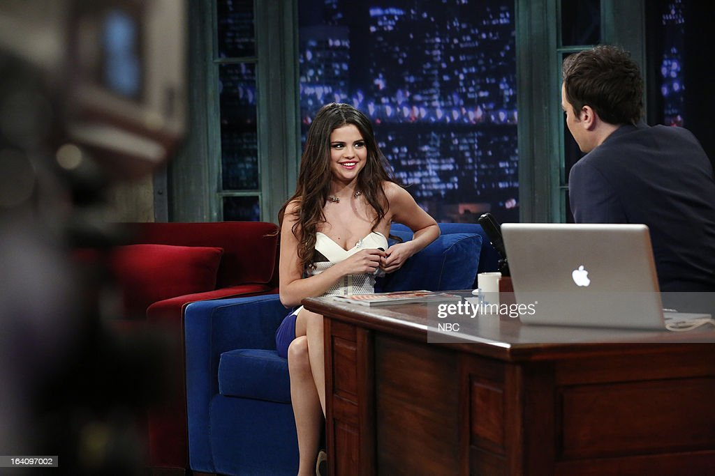 <a gi-track='captionPersonalityLinkClicked' href=/galleries/search?phrase=Selena+Gomez&family=editorial&specificpeople=4295969 ng-click='$event.stopPropagation()'>Selena Gomez</a> with host <a gi-track='captionPersonalityLinkClicked' href=/galleries/search?phrase=Jimmy+Fallon&family=editorial&specificpeople=171520 ng-click='$event.stopPropagation()'>Jimmy Fallon</a> during an interview on March 19, 2013 --