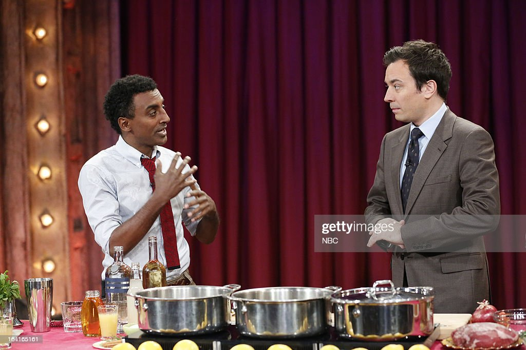 Chef <a gi-track='captionPersonalityLinkClicked' href=/galleries/search?phrase=Marcus+Samuelsson&family=editorial&specificpeople=2143367 ng-click='$event.stopPropagation()'>Marcus Samuelsson</a> with host <a gi-track='captionPersonalityLinkClicked' href=/galleries/search?phrase=Jimmy+Fallon&family=editorial&specificpeople=171520 ng-click='$event.stopPropagation()'>Jimmy Fallon</a> during a food demo on March 20, 2013 --