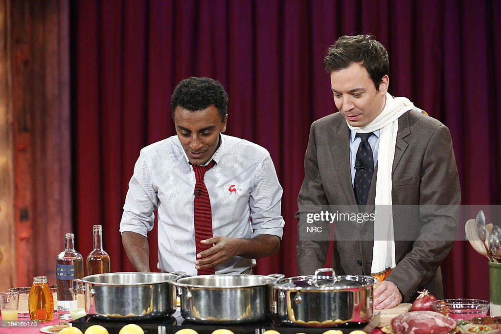 Chef Marcus Samuelsson with host Jimmy Fallon during a food demo on March 20, 2013 --