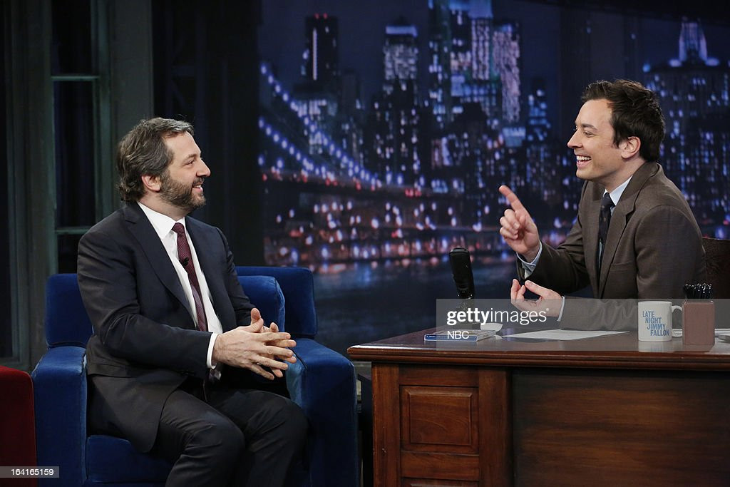 Director Judd Apatow with host Jimmy Fallon during an interview on March 20, 2013 --
