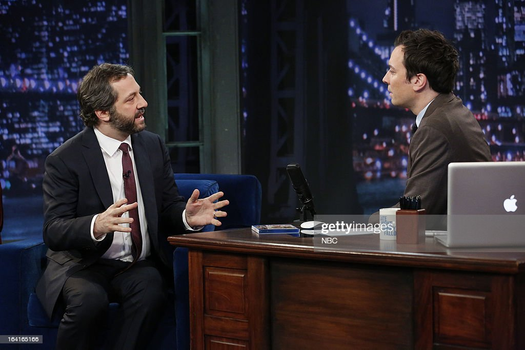 Director <a gi-track='captionPersonalityLinkClicked' href=/galleries/search?phrase=Judd+Apatow&family=editorial&specificpeople=854225 ng-click='$event.stopPropagation()'>Judd Apatow</a> with host <a gi-track='captionPersonalityLinkClicked' href=/galleries/search?phrase=Jimmy+Fallon&family=editorial&specificpeople=171520 ng-click='$event.stopPropagation()'>Jimmy Fallon</a> during an interview on March 20, 2013 --