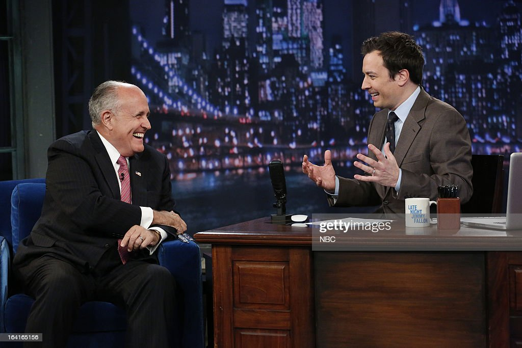Mayor Rudy Giuliani with host Jimmy Fallon during an interview on March 20, 2013 --