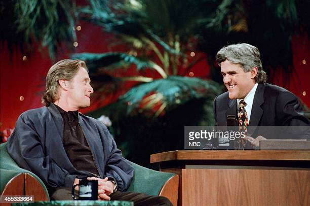 Actor Michael Douglas during an interview with host Jay Leno on November 16 1995