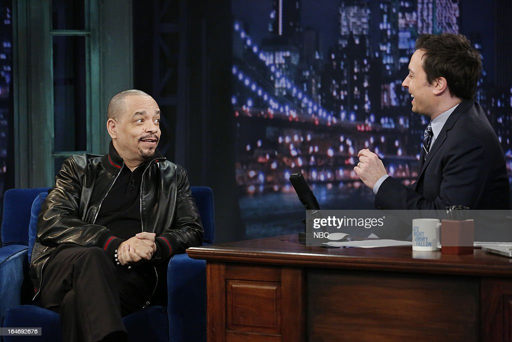 Actor/rapper <a gi-track='captionPersonalityLinkClicked' href=/galleries/search?phrase=Ice-T&family=editorial&specificpeople=213017 ng-click='$event.stopPropagation()'>Ice-T</a> with host <a gi-track='captionPersonalityLinkClicked' href=/galleries/search?phrase=Jimmy+Fallon&family=editorial&specificpeople=171520 ng-click='$event.stopPropagation()'>Jimmy Fallon</a> during an interview on March 26, 2013 --