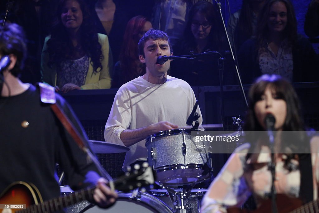 Musical guest Dylan Lynch of the Little Green Cars performs on March 26, 2013 --