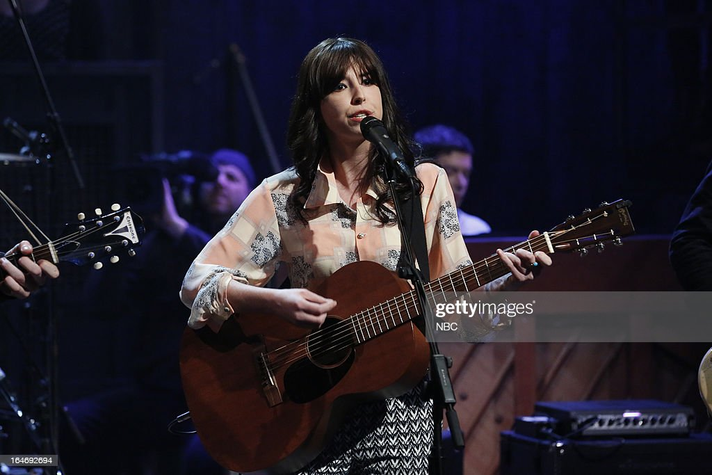 Musical guest Faye O'Rourke of the Little Green Cars performs on March 26, 2013 --