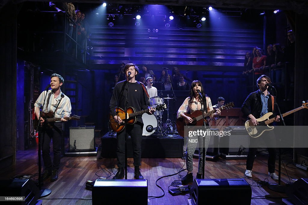 Musical guest Little Green Cars (l-r) Adam O'Regan, Stevie Appleby, Dylan Lynch, Faye O'Rourke, Donagh S. O'Leary perform on March 26, 2013 --