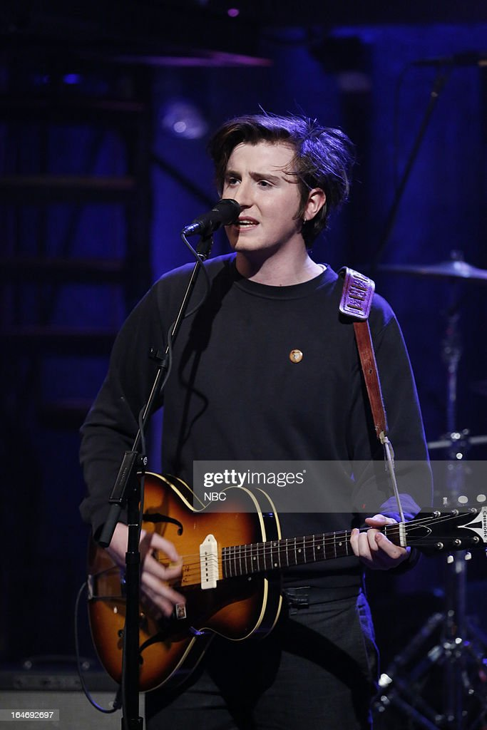 Musical guest Stevie Appleby of the Little Green Cars performs on March 26, 2013 --