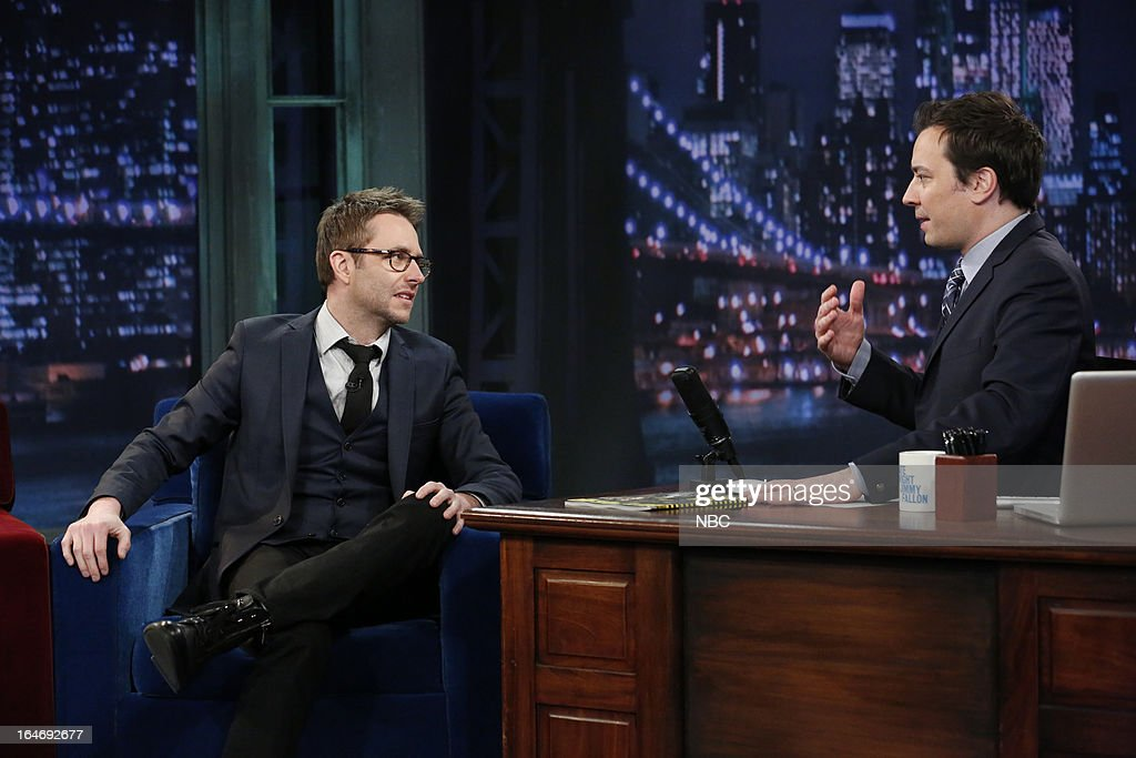 TV host/comedian Chris Hardwick with host Jimmy Fallon during an interview on March 26, 2013 --