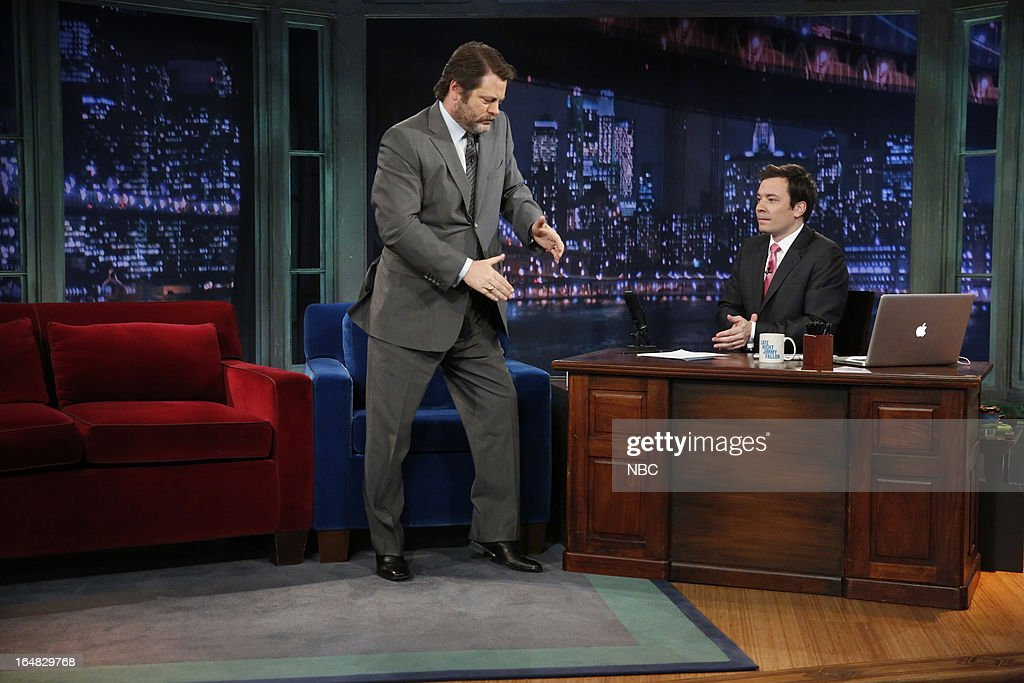 Actor Nick Offerman with host Jimmy Fallon during an interview on March 28, 2013 --