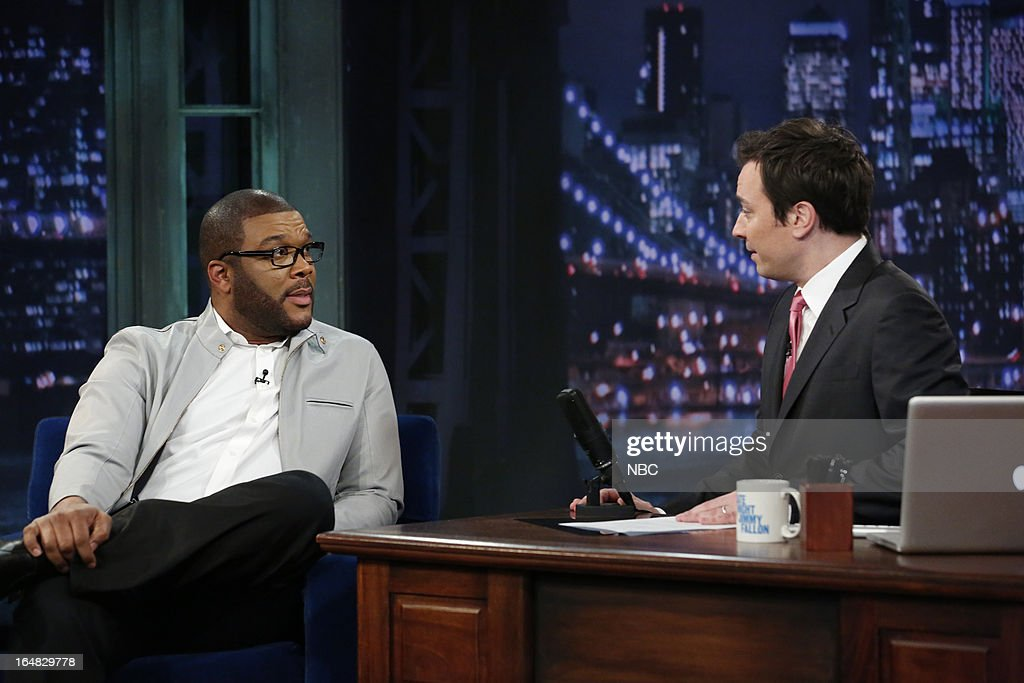 Director/actor <a gi-track='captionPersonalityLinkClicked' href=/galleries/search?phrase=Tyler+Perry&family=editorial&specificpeople=678008 ng-click='$event.stopPropagation()'>Tyler Perry</a> with host <a gi-track='captionPersonalityLinkClicked' href=/galleries/search?phrase=Jimmy+Fallon&family=editorial&specificpeople=171520 ng-click='$event.stopPropagation()'>Jimmy Fallon</a> during an interview on March 28, 2013 --